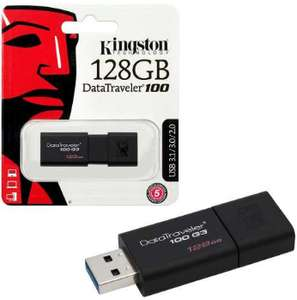 Kingston Technology DataTraveler 100 G3, 128 GB USB 3.1/USB 3.0 130MB/s, Flash Drive for £13.99 Delivered (£12.99 @ Amazon Prime) @ Base