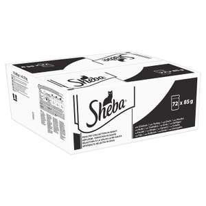 Sheba select slices 72 pouches £17.99 (Prime) / £22.48 (non Prime) / £17.09 s&s @ Amazon