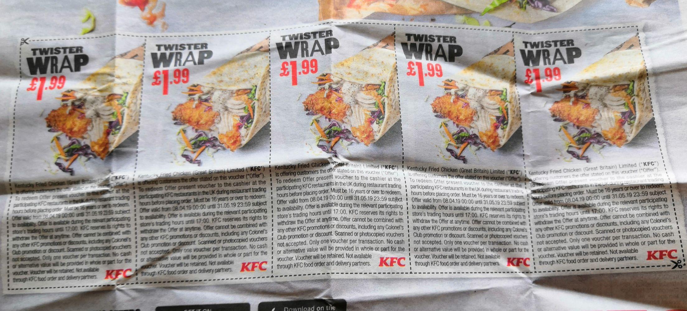 KFC Twister wrap £1.99 using voucher in the Mirror & Metro