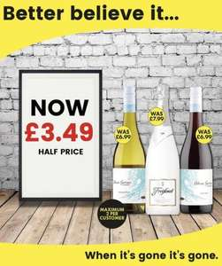 Wines on offer at Bargain Booze for £3.49 - Freixenet Ice 75cl, Carmen Wave Pinot Noir and Carmen Wave Sauvignon Blanc 75cl
