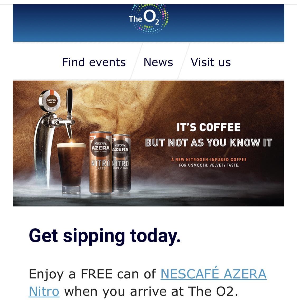 Free Nescafé Azera Nitro Coffee at o2 London Today