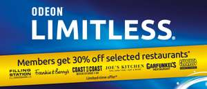 30% Off Food at Selected Restaurants with Odeon Limitless (£17.99/month)