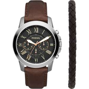 Fossil Grant Men's Leather Strap Chronograph Watch and Bracelet Gift Set £85 + free NDD with code @ Watches2u