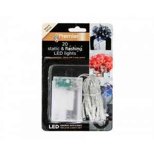 20 Battery Operated LED Lights Static and Flash Warm White / Red / Blue 3 sets for £2.67 with code free C&C @ Ryman stores