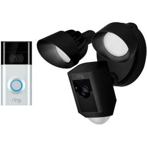 Ring V2 Doorbell and Video Floodlight 1080p full HD camera bundle in black £279 delivered @ ao.com