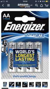 Energizer Ultimate Lithium AA Batteries, 4 pack £5 + £4.49 delivery (Non Prime) @ Amazon