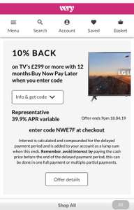 10% Back on Tv's £299 or more with 12 months BNPL at VERY