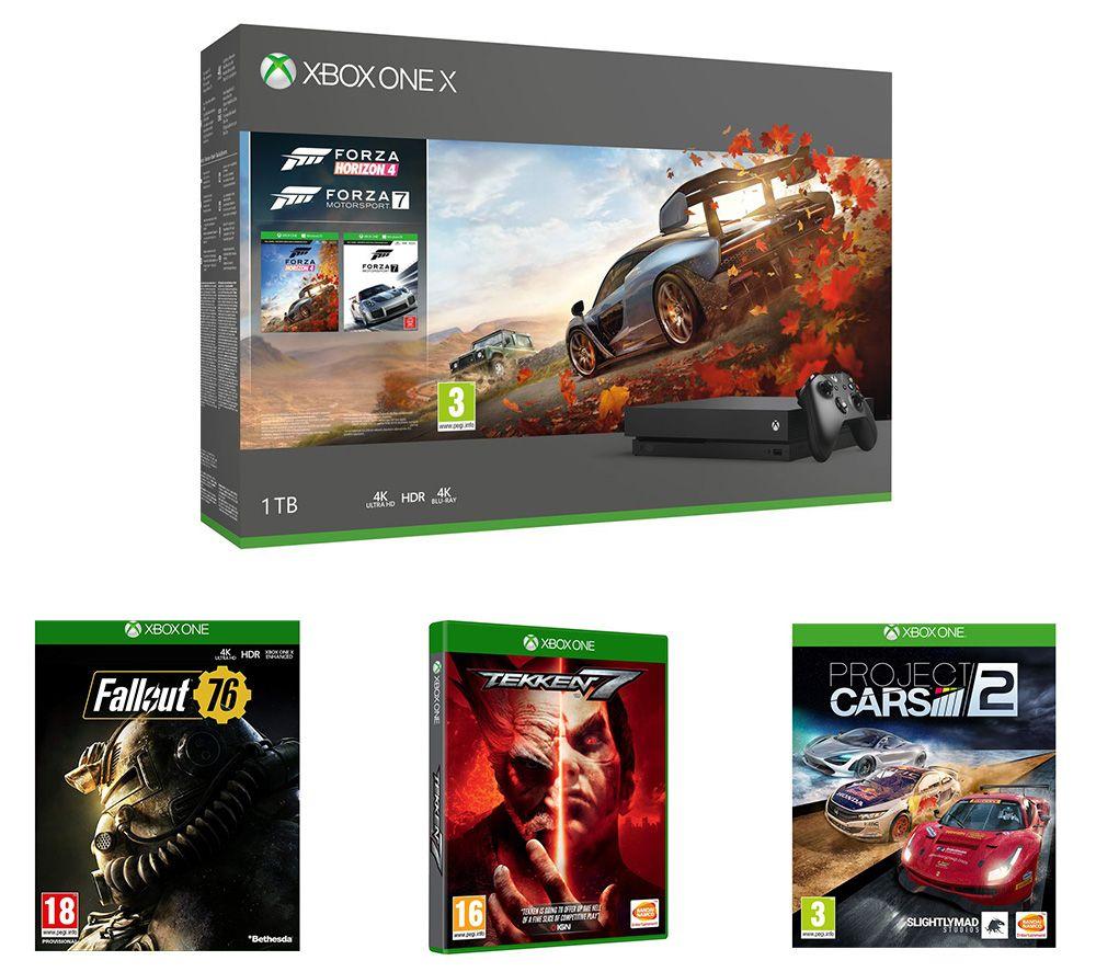 MICROSOFTXbox One X, Forza Horizon 4, Forza Motorsport 7, Project Cars 2, Tekken 7 & Fallout 76 Bundle - £399 @ Currys PC World