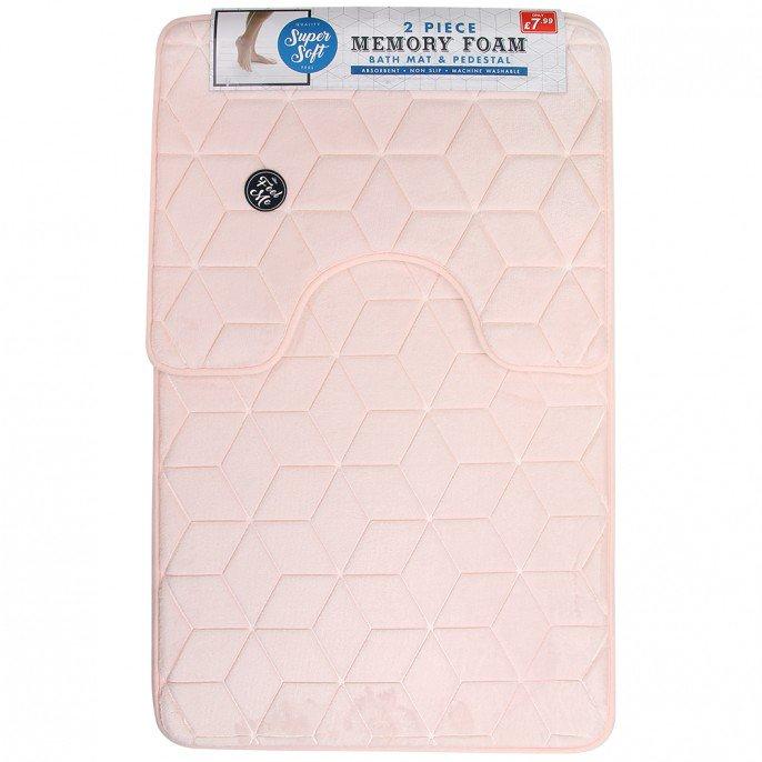 2PC Memory Foam Geo Bath Mat Set Pink @ Poundstretcher £4.99