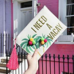 "Lisa Angel ""I Need A Vacay"" clutch bag £3 delivered"