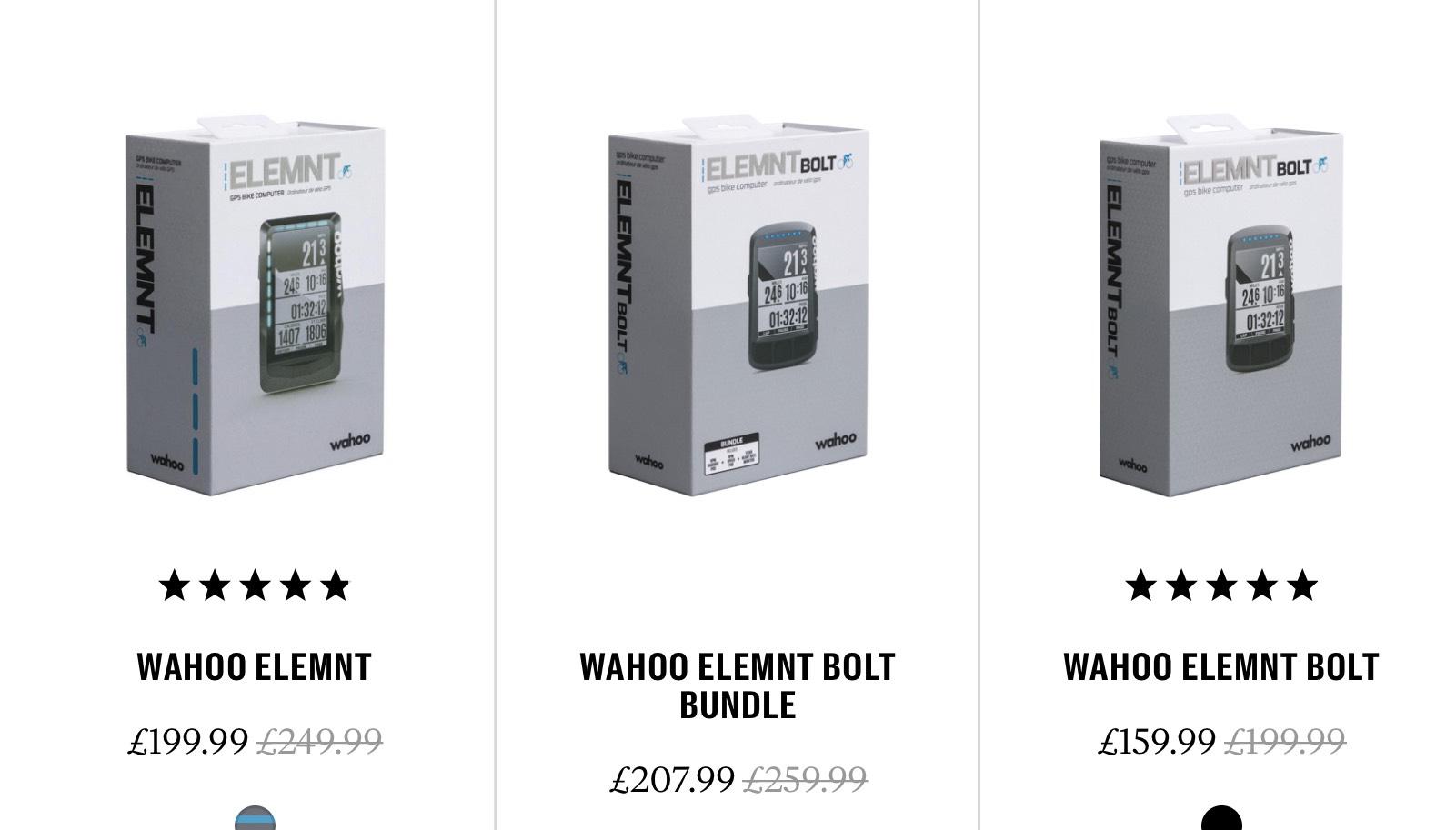 Wahoo Element £199.99 & Bolt £159.99 & Bolt Bundle £207.99 @ Rapha