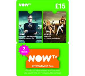 Now TV 3 month Entertainment  Pass / Code £12 @ GAME also 5 months for £20