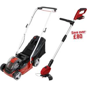 Toolstation C&C - Einhell Power X-Change 2x18V (36V) 33cm Cordless Lawnmower & 18V 24cm Grass Trimmer Kit 2 x 2.0Ah - £159.99