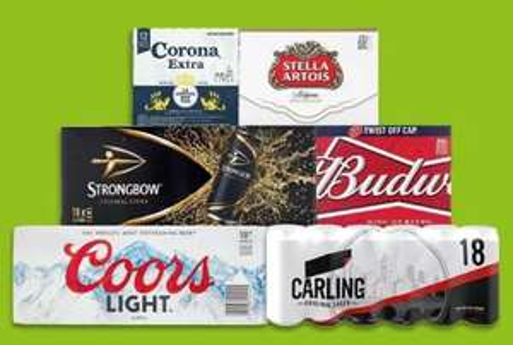 £10 beer & ciders - 18 x 440ml Coors Light, Strongbow & Carling, 20 x 330ml Budweiser, 20 x 284ml Stella & 12 x 330ml Corona @ Morrisons