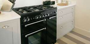 £104 Extra OFF with Code! RANGEMASTER Kitchener KCH90DFFBL/C Dual Fuel Range Cooker - Black & Chrome £994 @ Currys