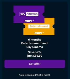 6 Months Entertainment & 6 Months Sky Cinema 50% Off £56.99 (£9.40 Per Month) New Customers Only @ Now TV
