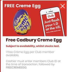 Free Cadbury's creme egg at Bargain Booze Club Members
