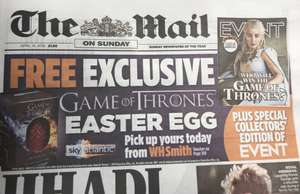 Free game of thrones Easter Egg from WH Smith for The Mail readers with voucher (£1.80)