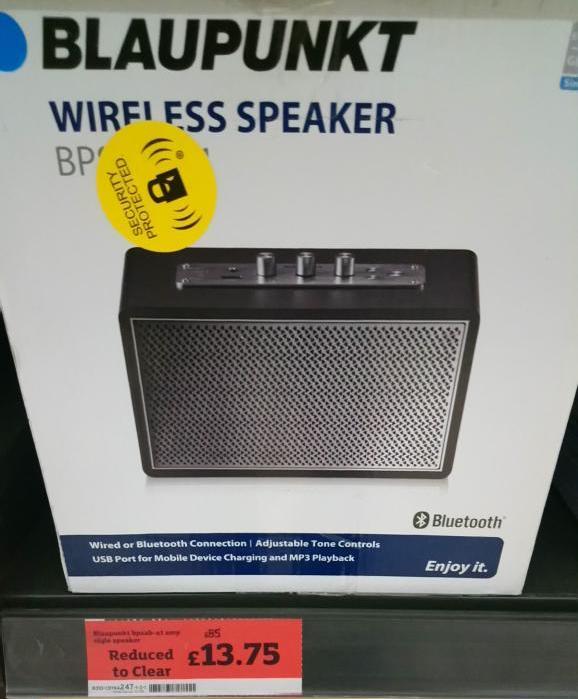 Blaupunkt wireless speaker £13.75 @ Sainsburys