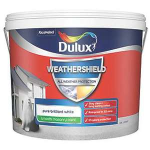 Dulux weathershield smooth masonary paint 10l, several colours £25 at Screwfix