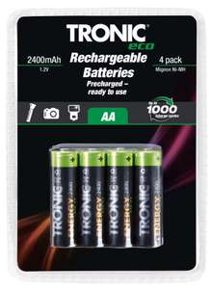 Tronic Eco AA 2,400 mAh | AAA 950 mAh, 4 pack - Rechargeable Batteries £2.99 @ Lidl