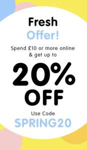 The works 20% off when you spend £10 or more