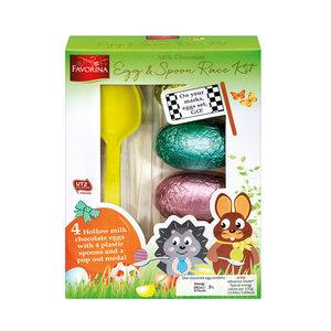 Favorina Egg & Spoon Race Kit - 4 Chocolate Eggs & 4 Spoons £1.24 / 10 Choco Lollies 99p / Easter Nest Baklava £2.99 instore @ Lidl
