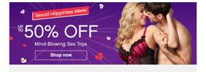 50% off lingerie & adult toys plus further 30% when you buy 2 items @ Lovehoney for Sexual Happiness Week ends Midnight