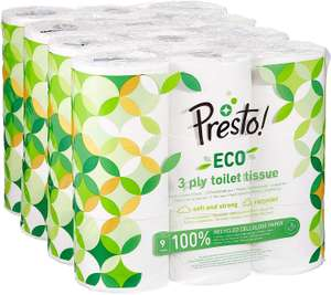 20% off first Amazon Subscribe & Save order of 36 Presto! Recycled eco toilet paper rolls (27p a roll) £9.80 Prime / £14.79 non Prime