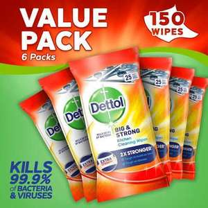 Dettol Big and Strong Kitchen Wipes, 150 Wipes, Pack of 6 x 25 £9.99 @ Amazon (20% Voucher S&S) Prime (+£4.49 non Prime)