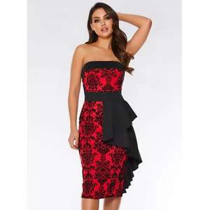 b6c802a0d260 Quiz Red Flock Bardot Ruffle Front Midi Dress Sizes 8-10 - £9.50 Collected