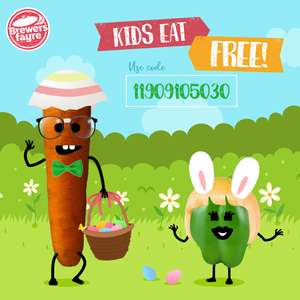 Kids eat free with purchase of adult main course this Easter half term until 26th April @ Brewers Fayre