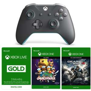 Xbox One Grey & Blue Wireless Controller with 3 Month Xbox Live, Overcooked and Gears of War 4 (all digital codes) @ The Game Collection