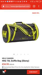 HELLY HANSENHH2 70L Duffle Bag at Sports Pursuit for £37.98 delivered