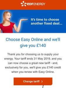EDF easy online £140 renewal bonus for existing customers -  low fixed price online gas and electricity tariff