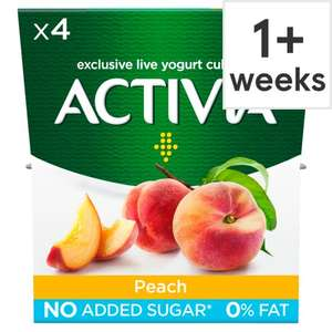 Activia fat free peach yoghurt 4 pack half price now £1 @ Tesco