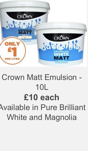 Crown Matt Emulsion Paint 10L £10 Pure Brilliant White & Magnolia @ Homebase - Magnolia also 3 for 2