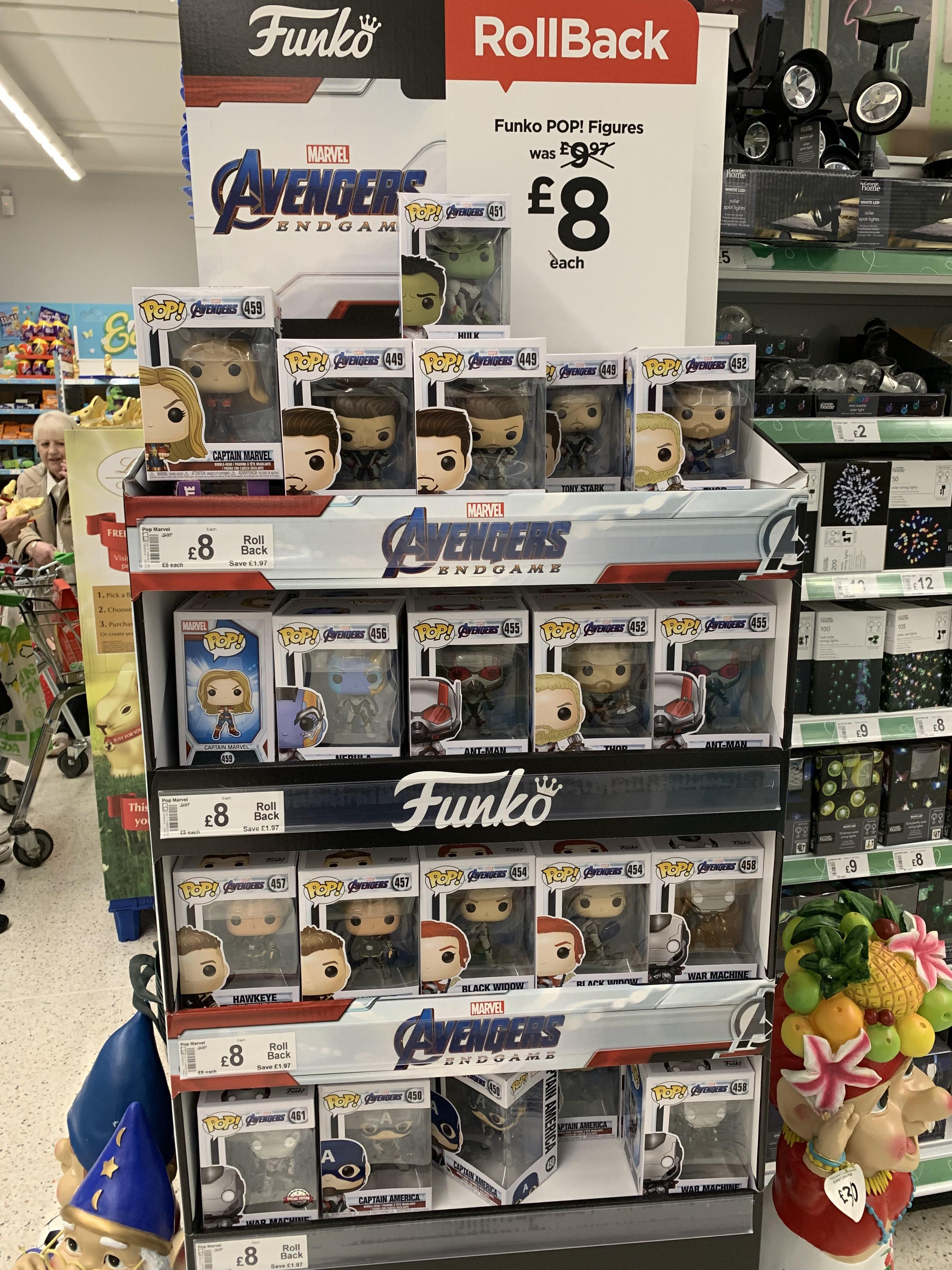 Marvel Avengers Endgame Funko Pops £8 at Asda