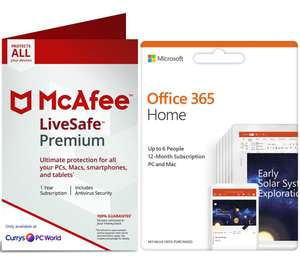 MCAFEE LiveSafe Premium 2019 for Unlimited Devices & Office 365 Home for 6 Users Bundle - 1 year @ Currys/PC World £39.99