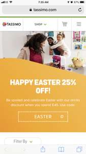 Tassimo - HAPPY EASTER 25% OFF using code: EASTER