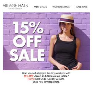 Bank Holiday Sale - 15% Off Jaxon & James + sur la tête at Hats and Caps