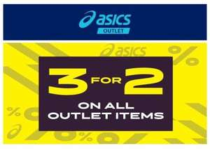 Asics 3 for 2 across the whole range at the Asics  outlet store