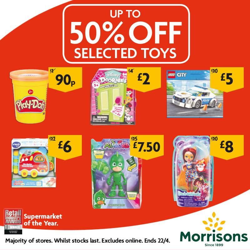 Up to 50% off toys eg Lego 60239 police car £5, Vtech Toot Drivers book £6, Disney Doorables £2, Talking 15cm PJ Masks £7.50 @ Morrisons
