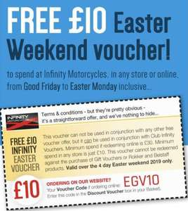 Infinity Motorcycles - Free £10 Easter voucher (in store and online)