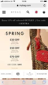 Mybag discount voucher code £30 off £100 spend, £50 off £150 spend and £70 off £200 spend - designer handbags/accessories