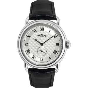 Rotary Mens Timepieces Sherlock Holmes Silver Black Watch GS02424-21 at Watches2u for £69