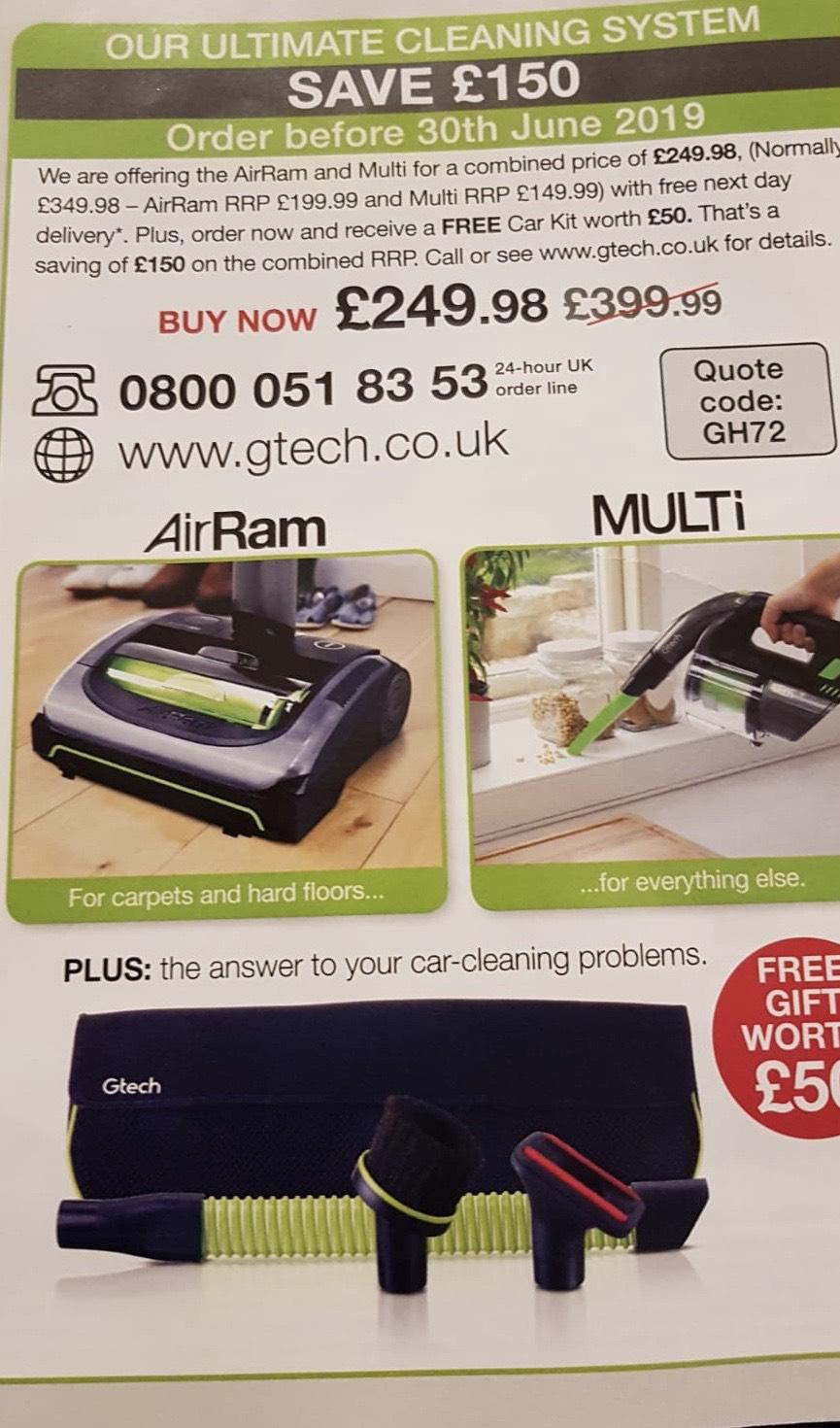 GTech AirRam MK2 + Multi MK2 + Car kit. Combined saving of £150 for £249.98