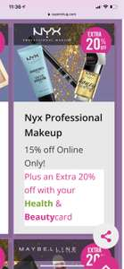 15% off NYX  products plus an additional 20% off for Superdrug Beauty Card Holders discount prices start from £2.04 for an NYX eye pencil