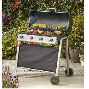 Tesco Barrel 4 Burner Gas Barbecue With Cover &Thermometer BBQ £75 - eBay