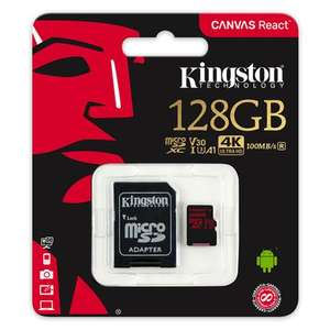 Kingston 128GB Canvas React Micro SD Card (SDXC) UHS-I U3 V30 + Adapter - 100MB/s - £17.99 with code  delivered @ MyMemory